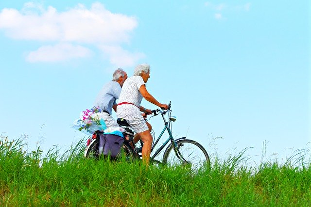 Elderly Exercising Biking